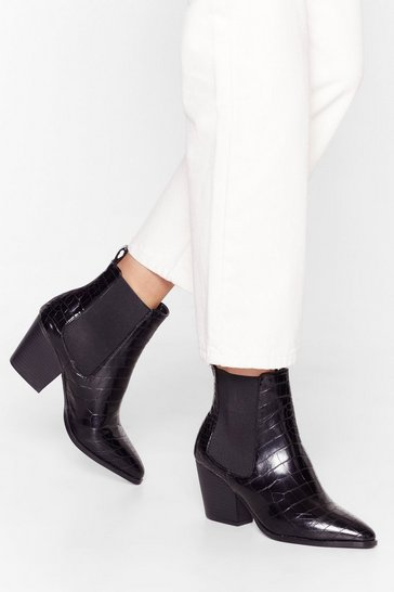 Black It's Croc Over Faux Leather Chelsea Boots