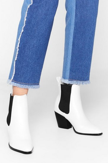 White And Your Point is Faux Leather Chelsea Boots