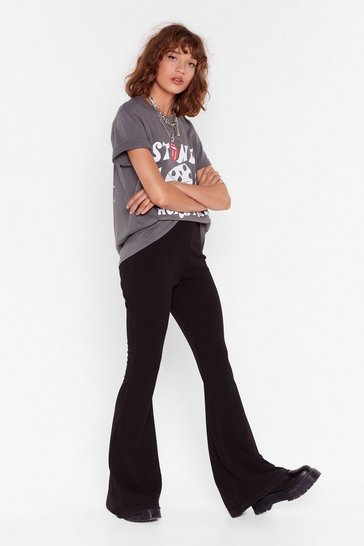 Black Without a Flare High-Waisted Pants