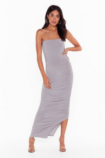 Silver grey Only Fools Ruche In Midi Dress