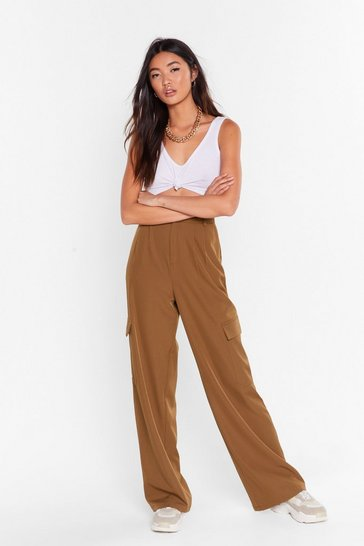 Womens Chocolate Can't Pocket Enough Wide-Leg Pants