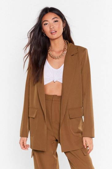 Womens Chocolate Can't Pocket Enough Longline Blazer