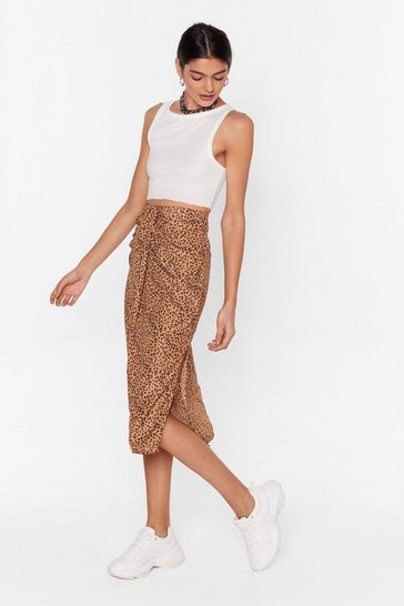 Brown The Time is Meow Leopard Midi Skirt