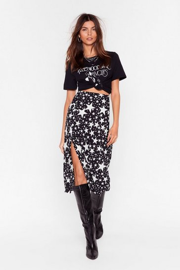 Black Star-t Again High-Waisted Midi Skirt