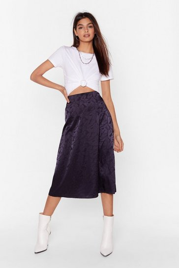 Navy Flower You With Lovin' Jacquard Midi Skirt