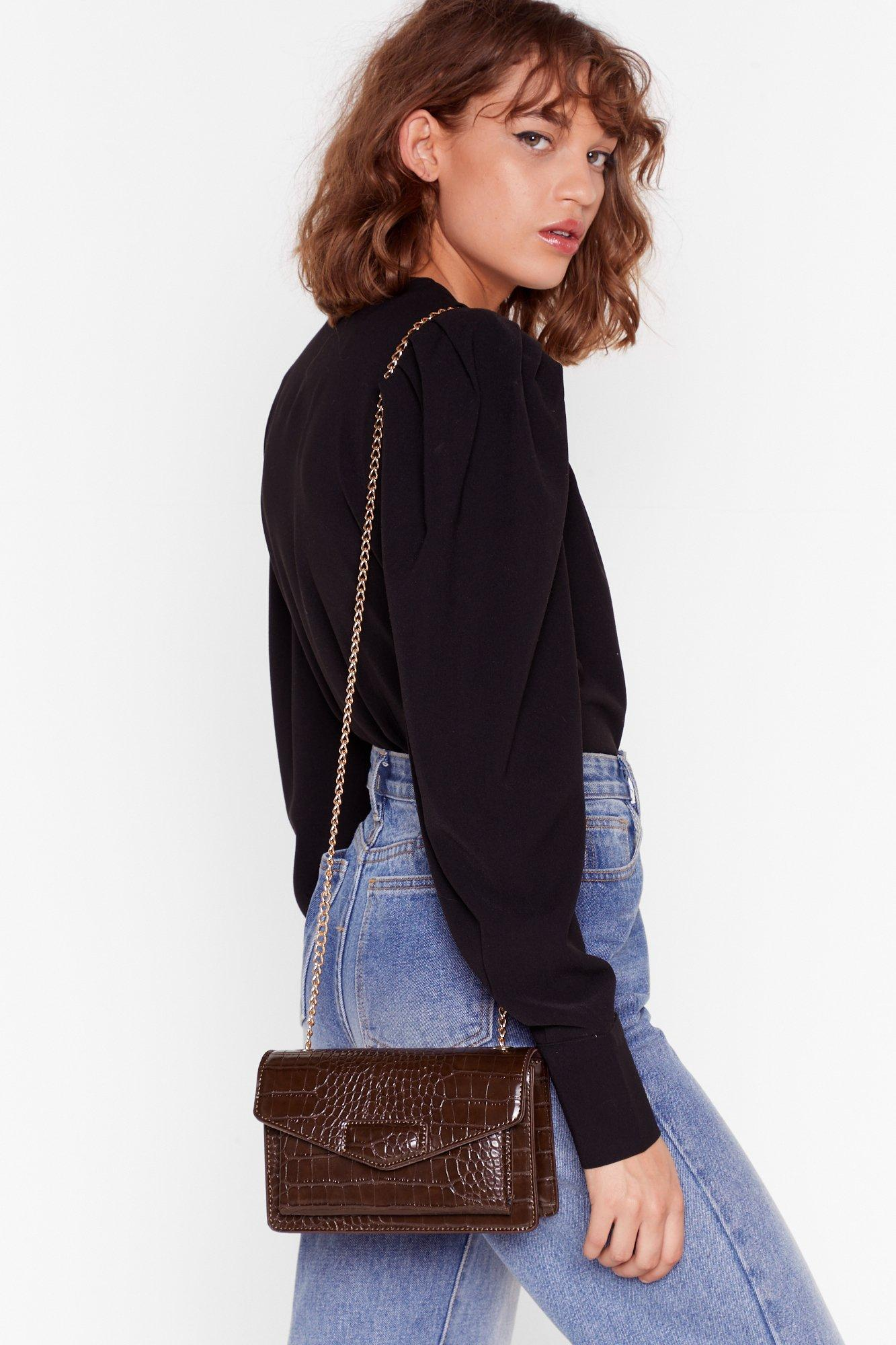 Faux Croc Chain Strap Corssbody Bag by Nasty Gal