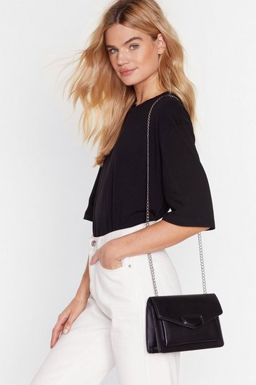 Black Chain-ge Your Life Faux Leather Crossbody Bag