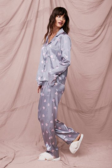 Grey Love of Your Own Life Heart Pajama Pants Set