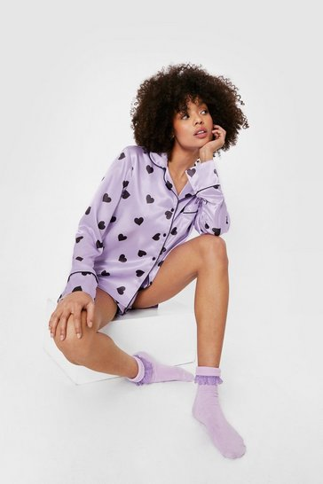Lilac Satin Heart Print Pajama Shirt and Shorts Set