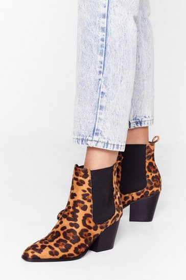 Brown That's Meow We Do It Leopard Chelsea Boots