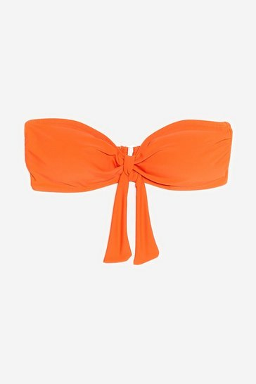Tangerine Havana a Good Time Tie Bandeau Bikini Top