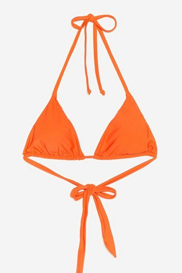 Tangerine Water You Doin' Halter Bikini Top
