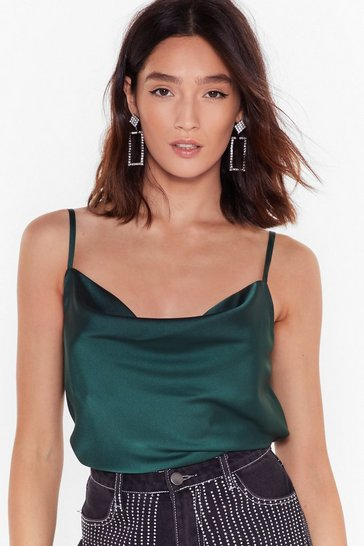 Womens Emerald Don't Cowl Your Ex Satin Cami Top