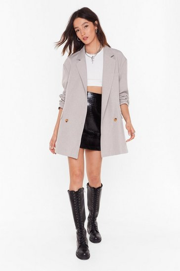 Womens Brown Gettin' Down to Business Oversized Blazer