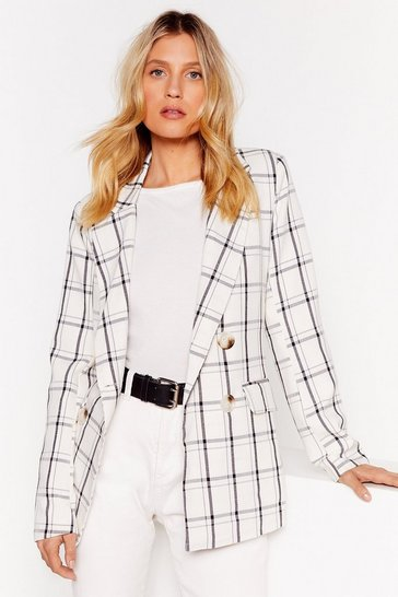 Cream You Grid It Double Breasted Check Blazer