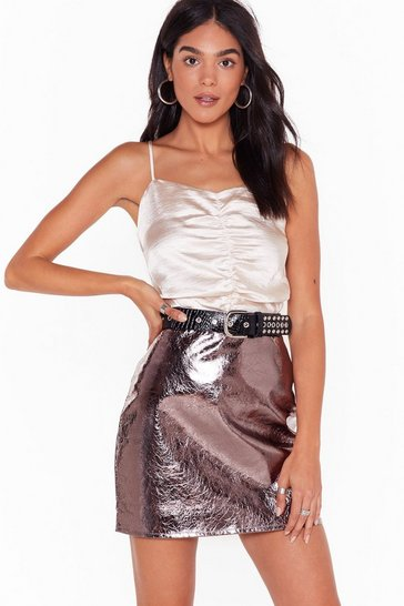 Cream Sugar Ruche Satin Crop Top