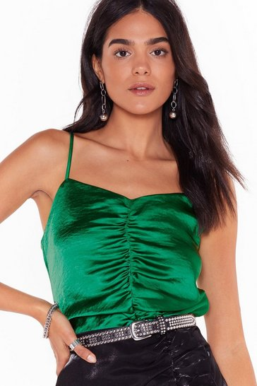 Womens Emerald Sugar Ruche Satin Crop Top