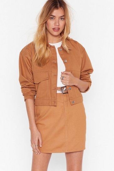Camel To Crop It Off Denim Jacket