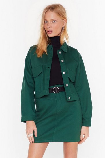 Womens Green To Crop It Off Denim Jacket