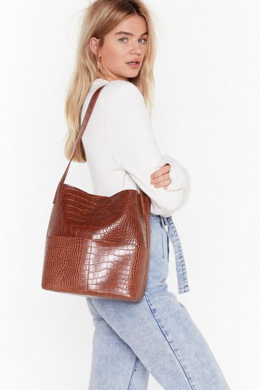 Camel WANT We Can't Croc Clutch and Tote Bag
