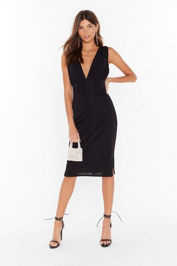 Black We'll V You There Plunging Midi Dress