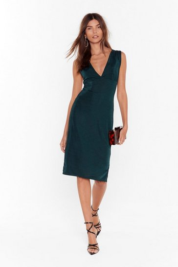 Dark green We'll V You There Plunging Midi Dress