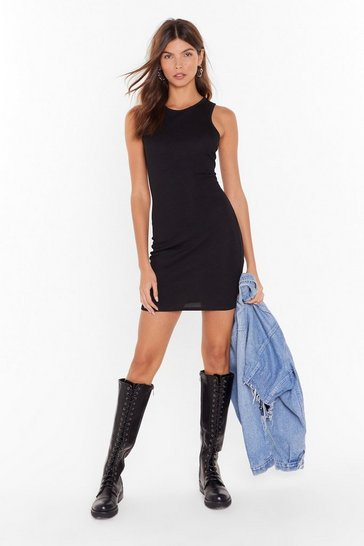 Womens Black Racerback Against Time Ribbed Mini Dress