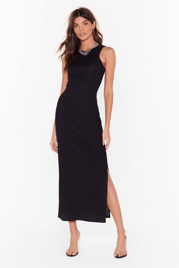 Womens Black Racerback You There Slit Midi Dress