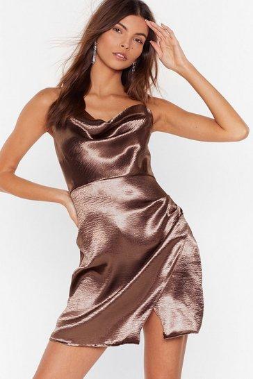 Mocha Don't Cowl Me Angel Satin Wrap Dress