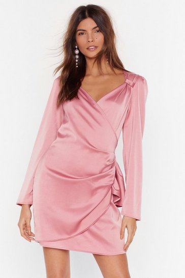 Pink Oh What a Frill Satin Wrap Dress