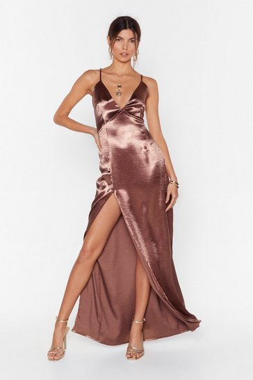 Mocha Look At You Satin Maxi Dress