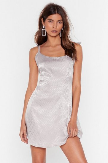 Silver Spot What You're Doin' Satin Mini Dress