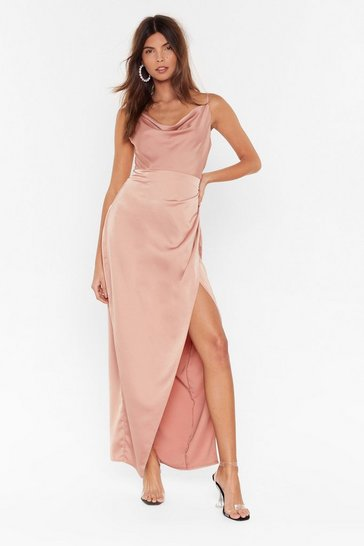 Nude Cowl Play Satin Maxi Dress
