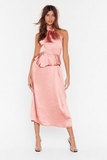 Salmon Halter At Us Satin Midi Dress