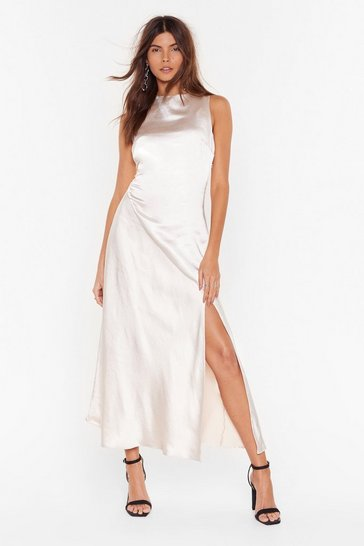 Cream Dance With Me Satin Maxi Dress