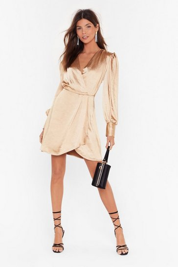 Gold Get It Together Satin Wrap Dress