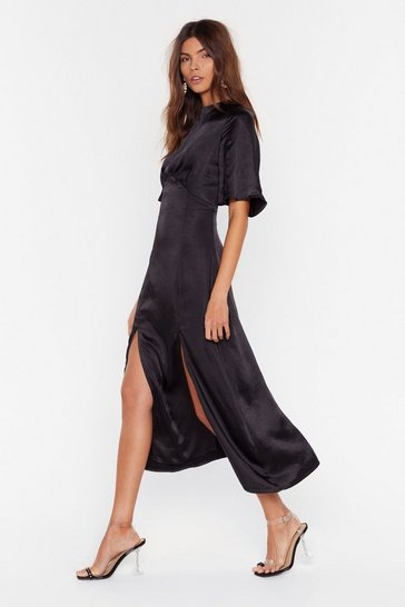 Black Make Your Smooth Satin Midi Dress