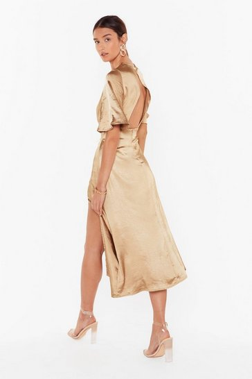 Womens Gold Make Your Smooth Satin Midi Dress