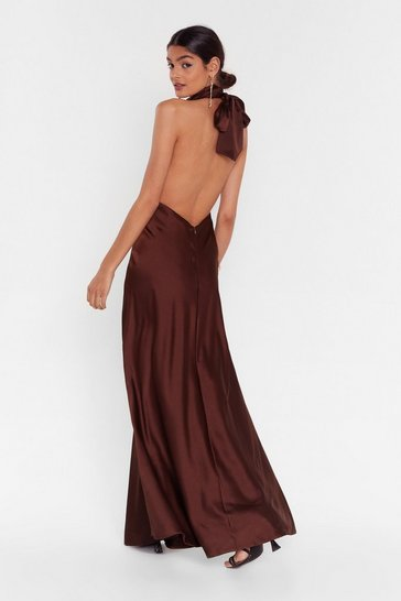 Chocolate Big Entrance Satin Maxi Dress