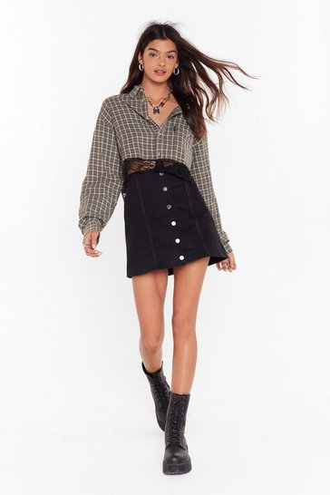 Womens Black Denim Button Down Pelmet Skirt