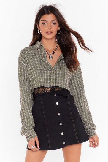 Womens Green Nasty Gal Vintage My Lace Thought Check Shirt