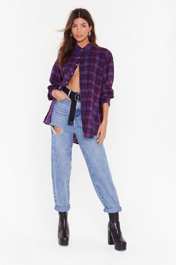 Purple Nasty Gal Vintage Relaxed Don't Do It Check Shirt