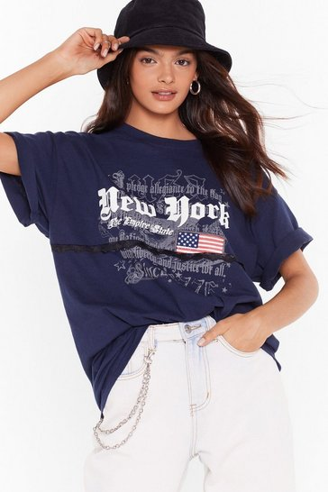 Navy Nasty Gal Vintage New York New York Graphic Tee