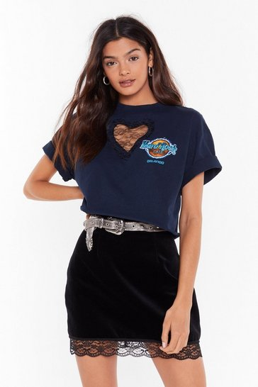 Navy Nasty Gal Vintage Heart of Lace Graphic Tee