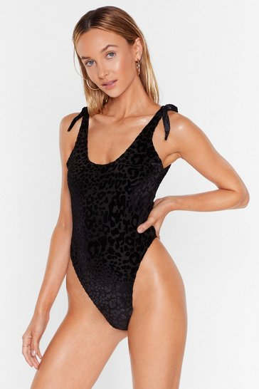 Black Lover of the Light High-Leg Devoré Swimsuit