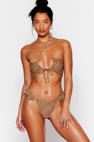 Brown Polka dot ruffle detail high leg brief