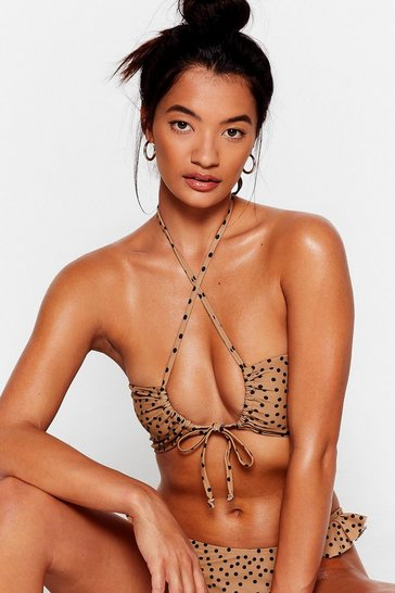 Brown polka dot wrap front halter top