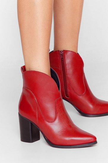 Red Curve It Leather Western Boots