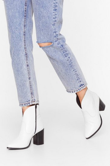 White Curve the Haters Leather Ankle Boots