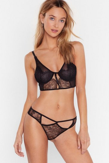 Black Cut-Out for the Night Lace Bralette and Panty Set